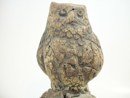 Carved Stone Look Owl Signed Figure Sculpture Resin Bird Vintage Estate ... - $14.80