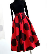 RED Winter Pleated Skirt Women Red Polka Dot Skirt Christmas Outfit Plus Size  image 2