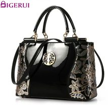 Women Patent Leather Handbags Embroidery Vintage - $88.75