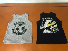 Lot of 2 Boys Kids Children's Place Blue & Gray Tank Tops Shirts Size 5-... - $9.89