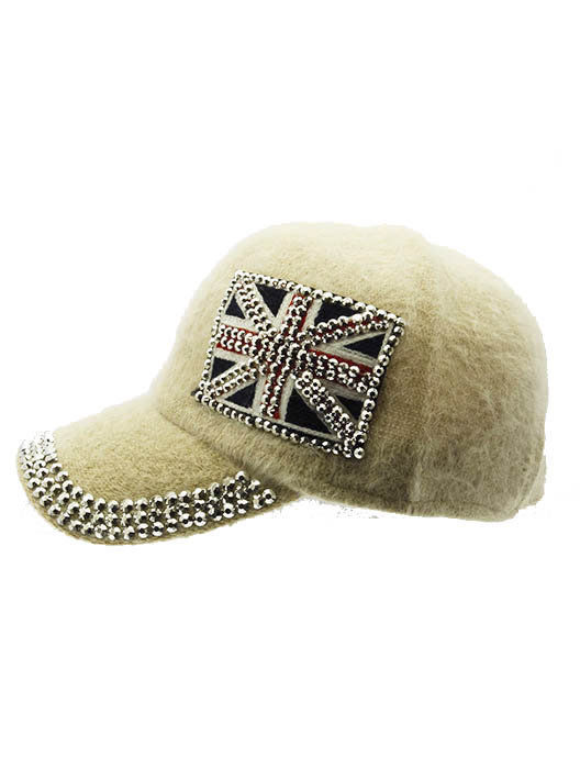 British Flag Soft Furry Hat Metallic Stud Bling Great Britain Union Jack Ivory