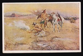 Charles M. Russell Vintage Unsued Postcard Artist Signed Indians - $11.79