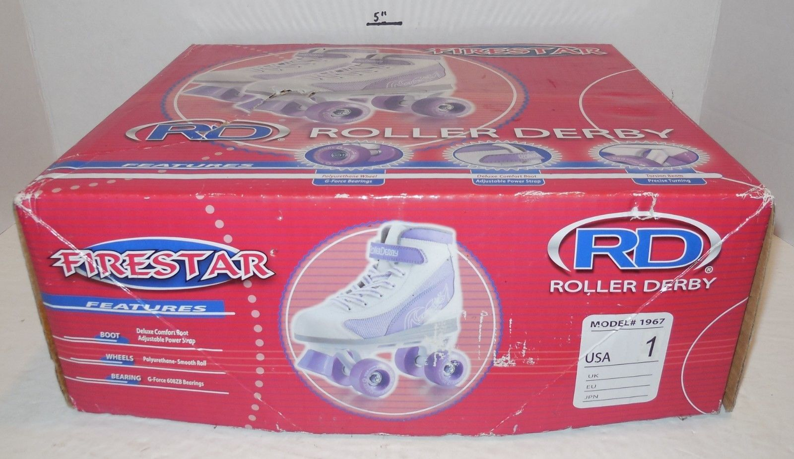 Primary image for Firestar Roller Derby Roller Skates Youth size 1 Purple White Model #1967