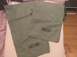Two Valentino  Green  Linen Drawstring Dust Cover Travel Bag 9 x16 - $14.84
