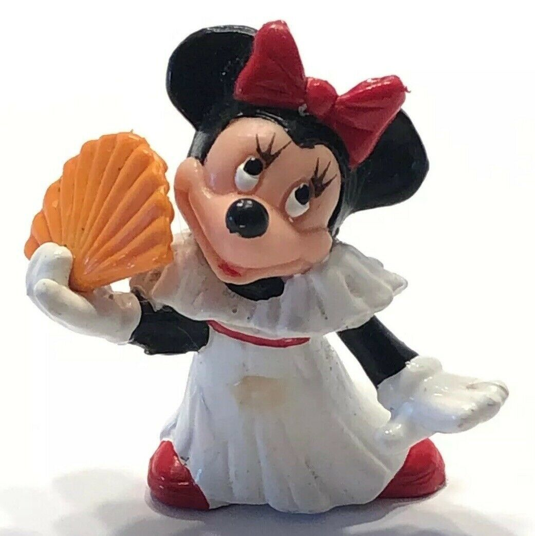"Disney Applause Minnie Mouse with Orange Fan PVC Figure / Cake Topper 2"" - $14.65"