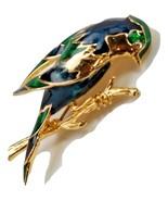 "Gold Plated Bird on branch Brooch Lapel Pin Enamel 2.25"" Long Blue Green... - $14.01"