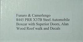 Funaro & Camerlengo HO PRR ONE PIECE BODY X37B Automobile boxcar Boxcar Kit 8445 image 2