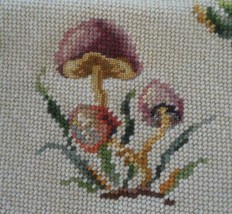 Vintage Wool Needlepoint Canvas Mushrooms Preworked Frame or Cushion - £14.26 GBP
