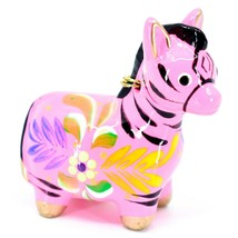 Handcrafted Painted Ceramic Pink Zebra Confetti Ornament Made in Peru image 1