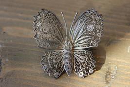 Antique Filigree Sterling Silver Butterfly Brooch - $79.19