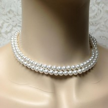 Vintage, 2 Layers of Faux Whte Pearls, 16in Choker-Necklace - $9.45