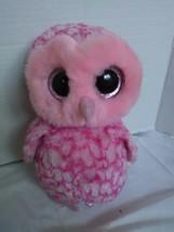 "TY Beanie Boos Pinky Owl Pink Plush 10"" Glittered Eyes 2014 Stuffed Animal - $13.87"