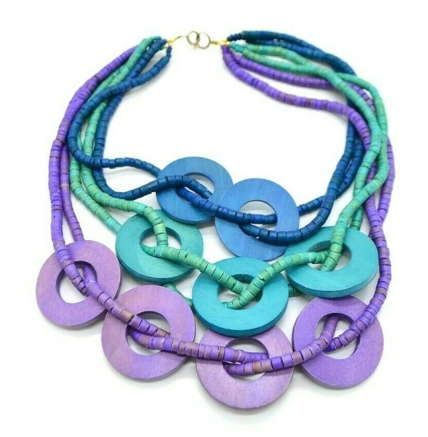 Blue Purple Dyed Wood Bead Multi-Strand Gold Tone Necklace Boho  - $19.79