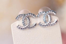 AUTH NEW CHANEL 2019 Classic CC Bi-Color Blue Crystal Silver EARRINGS image 2