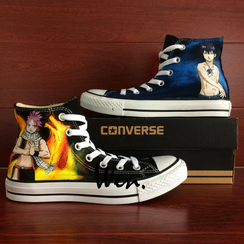 High Top Converse All Star Anime Fairy Tail Natsu Design Hand Painted Shoes