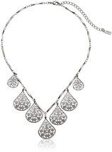 1928 Jewelry Silver-Tone Vine Filigree Teardrop Adjustable Collar Neckla... - $102.68