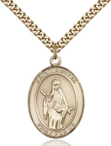 14K Gold Filled St. Amelia Pendant 1 x 3/4 inch with 24 inch Chain - $135.80