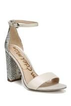 Sam Edelman Women Ankle Strap Sandal Yaro Size US 8.5M Ivory Snake Print Leather - $64.94
