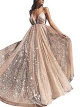 Deep V-Neck Prom Dresses Long Backless Tulle Spaghetti Strap Formal Even... - $139.99