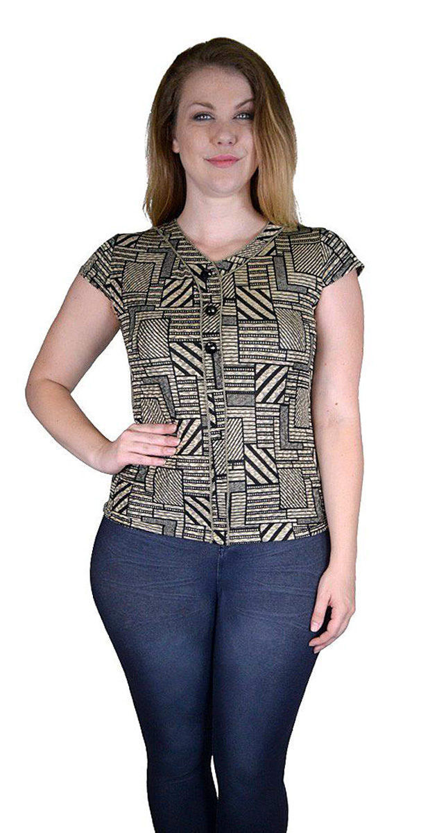 Black and Tan Blouse Easy Fit Size Choice L or XL