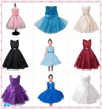 Flower Girl Princess Pageant Wedding Party Formal Gown Kid Baby Lace Tut... - $27.99