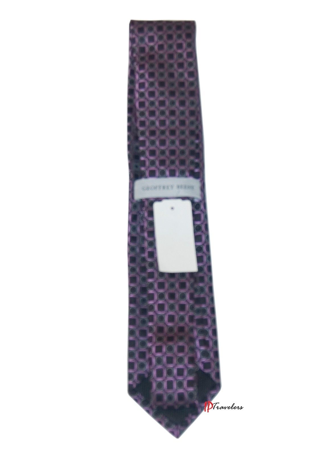 Geoffrey Beene Men's Neck Tie Purple and Black with Circles Square 100% Silk $55 image 2