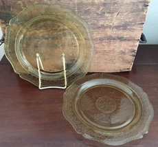 "Lot #8 / Federal Glass Patrician Amber 9 1/4"" Luncheon Plate Set of 2 - $25.00"