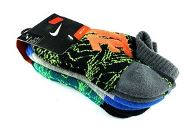 Kids NIKE No Show Socks Shoe Sz 6/7 Sock 13C-3Y  Graphic Teal/Volt/Orng/... - $9.89