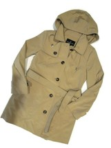 London Fog Trench rain dress Coat w removable hood British Khaki size Sm... - $109.35