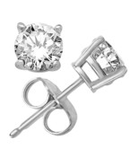 Sterling Silver 925 1.00ct Round Clear White CZ Stud Earrings - $363.61