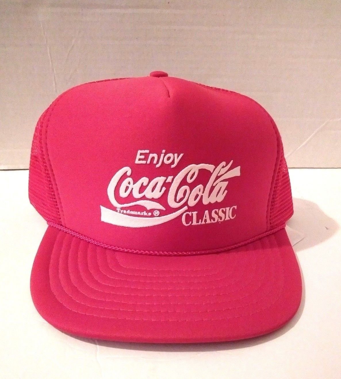 Vintage Enjoy Coca-Cola Classic Snapback Trucker Mesh Foam Cap Hat Red Nissun