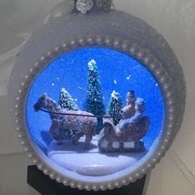 Mr. Christmas White Glitter Ball Ornament Lighted Sleigh Ride Battery Operated - $18.54