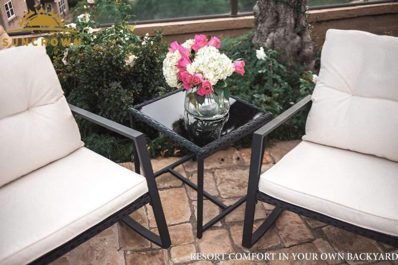 Set of 3 Pcs Rocking Black Wicker Bistro Furniture Garden Patio Stylish Comfort