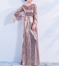 Long Sleeve Rose-Gold Maxi Sequin Dress Women Maxi Sequined Evening Wedding Gown image 7