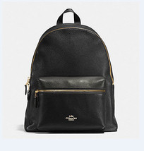 COACH Charlie BACKPACK F 38288 PEBBLE LEATHER Billie ruskin BLACK NWT - $187.11