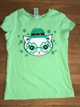 * target green st patricks day cat glitter graphic top shirt medium 7 / 8 girl - $4.51