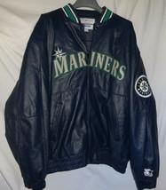 Vintage Seattle Mariners Starter Genuine Leather Bomber Jacket Sz XL MLB - $148.49