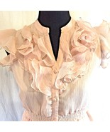 Romeo & Juliet Couture Pink Cap Sleeve Top Button Front Blouse Sz S Empi... - $42.48