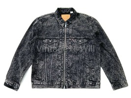 Levis Premium Mens L Black Acid Wash Denim Jean Zip Trucker Jacket Big E... - $93.10