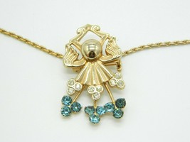 Blue Clear Glass Rhinestone Gold Tone Art Nouveau Style Pendant Necklace Vintage - $29.69