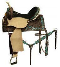 """16"""" Circle S Barrel saddle set with painted zigzag design. - $399.99"""