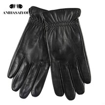 Fashion black mens leather gloves,Simple gloves male winter,driving men'... - $35.81