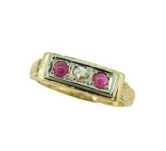 14k Yellow Gold Genuine Natural Ruby and Rose Cut Diamond Ring (#J4637) - $600.00