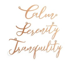 Set of 3 - Calm, Serenity, Tranquility Gold Cursive Words Wrought Iron