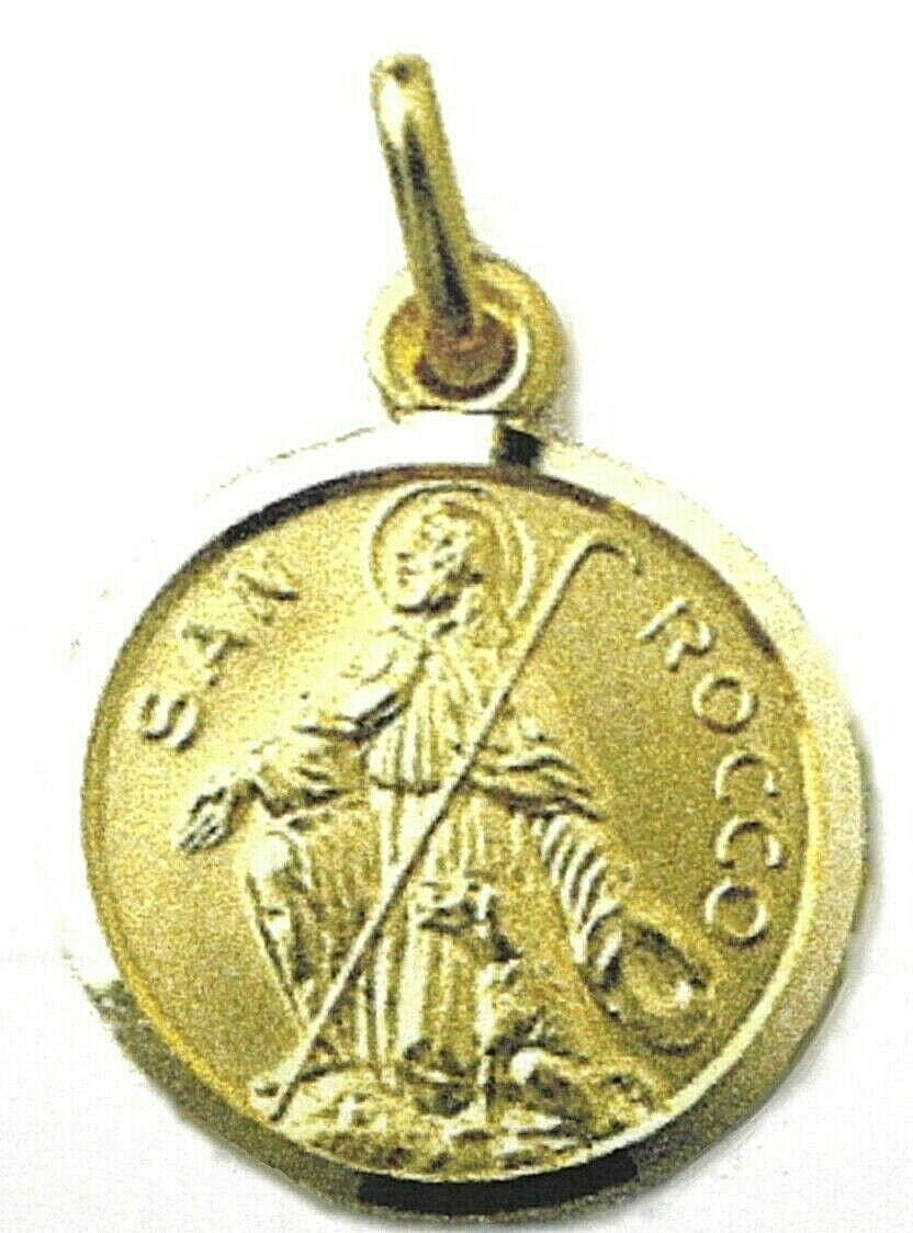 SOLID 18K YELLOW GOLD ROUND MEDAL, SAINT ROCH, ROCCO, DIAMETER 17mm
