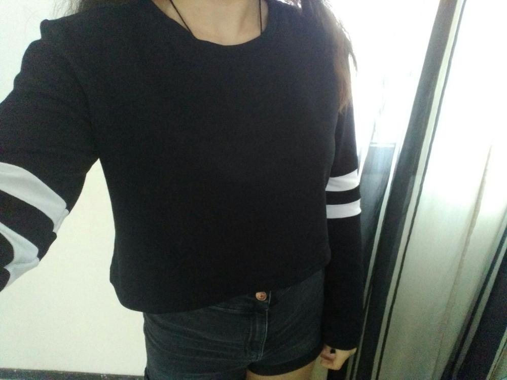 Women Casual T-Shirt Striped Tees Long Sleeve Ladies Spring Crop Round Neck