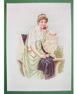ROMAN MAIDEN Lovely Girl Fine Dress Roses - COLOR Antique Print - $17.96