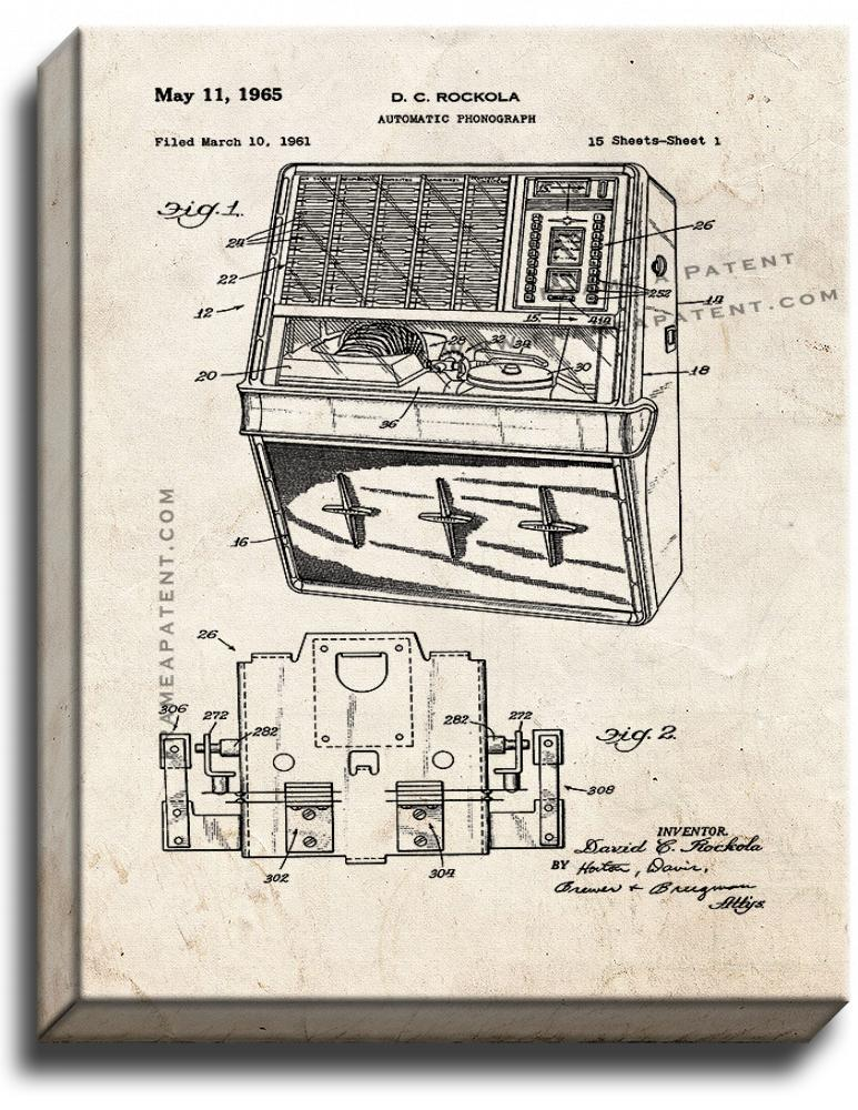 Primary image for Jukebox Patent Print Old Look on Canvas