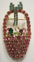 PINK RHINESTONE EASTER BASKET BROOCH  ALL STONES PRONG SET  BEAUTIFUL!! - $29.95