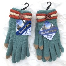Lot of 2 Pr Polar Extreme Fashion Winter Gloves Women One Size OSFM Teal... - $20.92 CAD